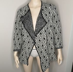 Dex Waterfall Front Cardigan Faux Leather Trim